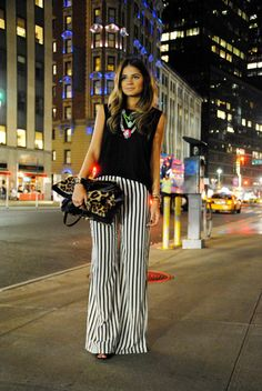 street style, outfit, look, trend , fashion, moda, tendencia, inspiração, get inspired, inspiration, black nd white, preto e branco, pants, striped, listras, listrado, pantalona
