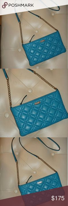 Sale! Kate Spade Crossbody- Teal Quilted Leather Kate Spade Crossbody. Teal color. 14k gold plated hardware. Beautiful quilted leather. Stunning color!! New with out tags! kate spade Bags