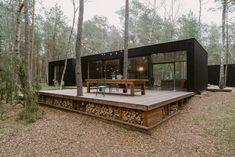 Small contemporary home or cabin. Note large deck with storage under for firewoo… - Modern Tiny House Cabin, Tiny House Living, Tiny House Design, Contener House, Casas Containers, Forest House, House In The Woods, Building A House, House Plans