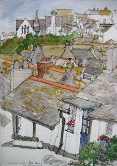 Port Isaac, Cornwall . Watercolour . Liz Elmhirst