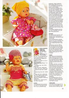 Albumarkiv Knitting Dolls Clothes, Doll Clothes, Doll Patterns, Knitting Patterns, Baby Born, Baby Dolls, Diy And Crafts, Crochet Hats, Teddy Bear