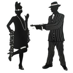 1920s Silhouettes Gangster Scene Clipart