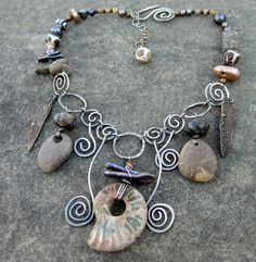Why is it that when we have little to no time left at all, our inspiration kicks it into overdrive? I have my last jewelry show of the . Mixed Media Jewelry, Metal Jewelry, Beaded Jewelry, Handmade Jewelry, Recycled Jewelry, Handmade Headbands, Wire Necklace, Wire Wrapped Necklace, Bead Necklaces