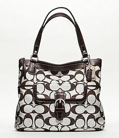 9c49b509accb Coach Poppy Signature Crosshatch Canvas Glam Tote in Silver Brown