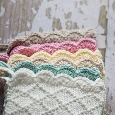 Lovely knitting pattern with crochet edge.  Baby bonnets.