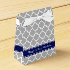 Gray White Moroccan 5 Navy Blue Name Monogram Favor Box