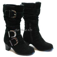 Little Girls YOUTH JR Kids Pretty Winter Buckle Low High Heel Mid Calf Boots