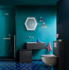 einrichtungsbeispiele trendfarbe wandgestaltung wanddesign blaugrün bad