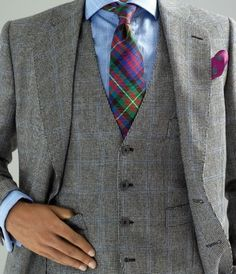 Men's Fashion  Style Three Piece Flannel Gray Suit