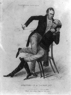 Symptoms of a locked jaw. The caricature reflects the bitter antagonism between Kentucky senator Henry Clay and President Andrew Jackson, during the protracted battle over the future of the Bank of the United States from 1832 through Election Cartoons, Political Cartoons, Us History, American History, Henry Clay, Andrew Jackson, American Soldiers, Cartoon Shows, Caricature