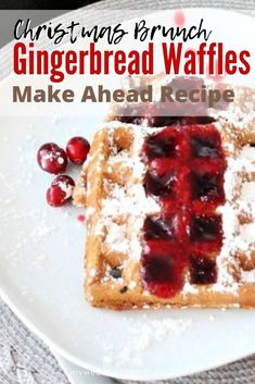 Amazing for Christmas, make these gingerbread waffles ahead of time, and warm them whenever you want during the holidays. Waffle Recipes, Brunch Recipes, Appetizer Recipes, Cookie Recipes, Breakfast Recipes, Breakfast On The Go, Make Ahead Breakfast, Waffle Ingredients, Cookies