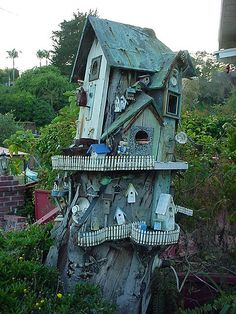 Tree stump bird house