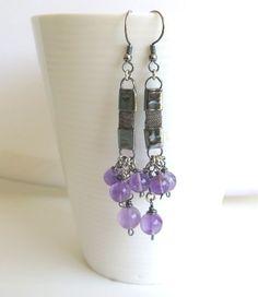 Statement earring Long gemstone earring Unique earring Silver purple earring Modern earring Oxidized silver earring Valentines gift (53.00 USD) by Viyoli