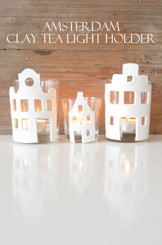 DIY Amsterdam Clay thee light holder Clay Christmas Decorations, Diy Christmas Ornaments, Diy Clay, Clay Crafts, Clay Houses, Diy Presents, Home Candles, Clay Ornaments, Homemade Christmas Gifts