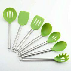 Silicone Utensil Set cmsHome 5 Piece Essential Green Ice Non-stick Non-toxic