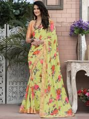 We offer wide range of party sarees collection with unique design patterns. Shop this faux georgette multi colour printed saree. Floral Print Sarees, Printed Sarees, Saree Blouse Patterns, Saree Blouse Designs, Art Silk Sarees, Georgette Sarees, Stylish Sarees, Saree Look, Casual Saree