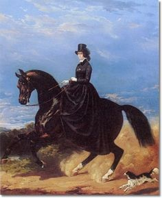 The first habits were often military looking, copying the uniforms of the male riders of the day.  Gradually riding habits evolved – what was one more change of dress in the day if you had servants to help you?  Given the cost of the saddle the horse and the habit, and the fact that a lady needed assistance to mount side saddle, only women of substance could afford to ride at all.
