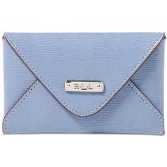 Lauren Ralph Lauren Newbury Envelope Card Case ($38) ❤ liked on Polyvore featuring bags, wallets, blue mist, card case wallet, leather card holder wallet, leather pocket wallet, leather pocket pouch and pocket wallet