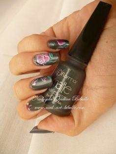 Bibulle Blog Nail Art: Nail art Zhostovo - Fleur fanée !! rose nail art peinture