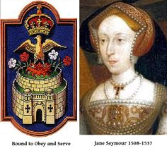Jane Seymour, badge and motto. Third wife of Henry VIII. She died from child bed fever after delivering Henry's longed for son. She was not officially crowned Queen. Uk History, Tudor History, British History, Wives Of Henry Viii, King Henry Viii, Anne Of Cleves, Anne Boleyn, Tudor Era, Tudor Style