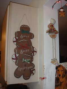 """Gingerbread """"Sweet Sweet Greetings"""" sign (Real Dealz Home Decor store), Gingerbread with dangle legs (christmasplace.com)"""