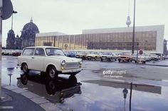 Trabant infront of the former SED building Palast der Republik.