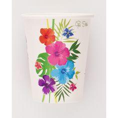 Hawaii bekers 8 stuks. 8 stuks bekers in witte kleur met een bloemen opdruk. Deze kartonnen bekertjes hebben een inhoud van 250 ml.