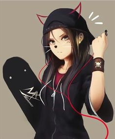 Anime Tomboy, Emo Anime Girl, Kawaii Anime Girl, Manga Girl, Gothic Anime Girl, Anime Neko, Anime Oc, Manga Anime, Dark Anime