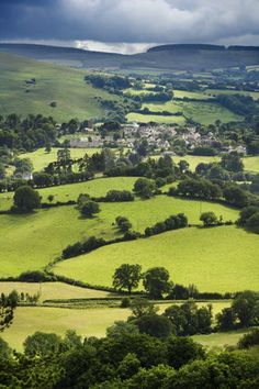 The village of Chagford and valley viewed from the roof of Castle Drogo, near Exeter, Devon, UK
