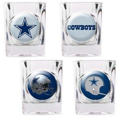 This 4-piece Dallas Cowboys square shot glass set will look great in any Dallas fan cave. Each of the 4 glasses is decorated with a different Cowboys logo. Each of the four logos show the evolution of