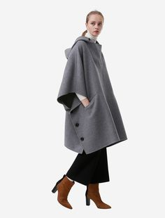 double face hooded big poncho | ONLINE SHOP | beautiful people