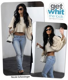 Nicole Sherzinger: Cropped Cream Knit with light wash denim and cream accessories. Messy Hair = HAWT