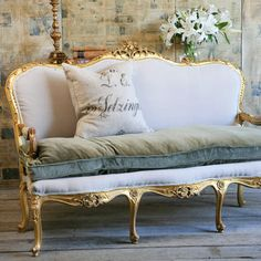 Antique French sofa/Settee on by Eloquence One Of A Kind Louis Xvi Vintage Settee Original Bright Gilt Was 4 000 French Interior, French Decor, French Country Decorating, French Sofa, French Chairs, White Wicker, French Country House, French Furniture, Classic Furniture