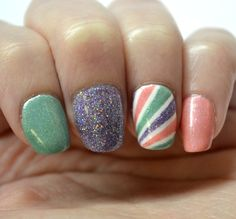 Pastel tape mani with Glam Polish Arctic Freeze, Whirlwind, and Frost Flower #NAILlinkup