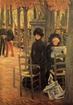 "James Tissot (French, 1836 – 1902) ""Sunday in Luxembourg Gardens"""