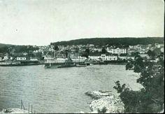 Vestfold fylke Larvik utsikt over havnen tidlig 1900-tall