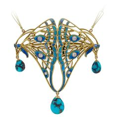 French Art Nouveau Diamond, Turquoise, Enamel and Gold Pendant | From a unique…