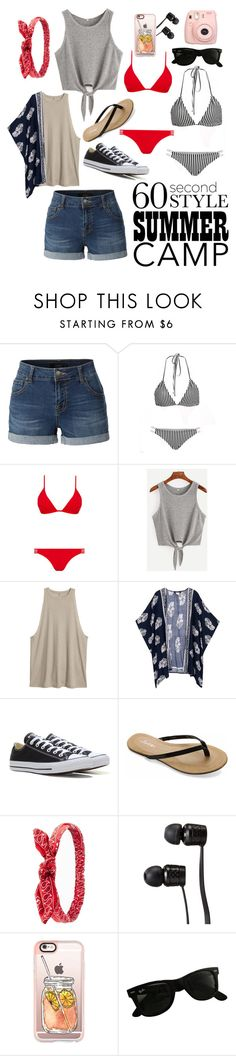 """""""Welcome To Camp!"""" by honestly-chic ❤ liked on Polyvore featuring LE3NO, Melissa Odabash, Converse, UNIONBAY, Charlotte Russe, Vans, Casetify, Ray-Ban, Fujifilm and summercamp"""