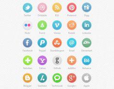 Circle social icons PSD