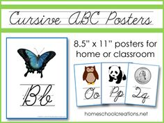 Cursive ABC Wall Posters - FREE printables showing uppercase and lowercase cursive letter formation. Cursive Alphabet Printable, Alphabet Wall Cards, Cursive Handwriting, Abc Wall, Handwriting Worksheets, Alphabet Letters, Classroom Calendar, Kids Calendar, School