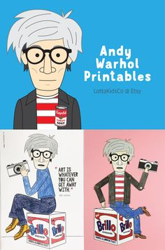 Fun posters, coloring pages and paper dolls featuring Andy Warhol. Art history for kids. Andy Warhol for kids. Coloring pages for kids. Famous artist coloring pages. Pop Art For Kids, Easy Art For Kids, History For Kids, Art History, Andy Warhol Pop Art, Artists For Kids, Printable Art, Printables, Arte Pop