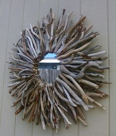 Driftwood Mirror Wall Hanging Round Sunburst by BurlgirlCreations