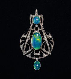 Art Nouveau opal pendant by Henri Vever, circa 1910