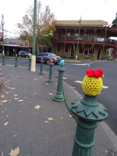 Warm and woolly bollards outside Dudley House Bendigo.