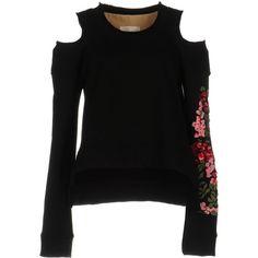 Ssheena Sweatshirt (5,925 EGP) ❤ liked on Polyvore featuring tops, hoodies, sweatshirts, black, flower top, cotton sweatshirts, long sleeve cotton tops, long sleeve tops and flower sweatshirt