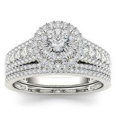 De Couer 10k White Gold 1ct TDW Diamond Double Halo Engagement Ring Set with One Band (H-I, I2) (Size-6.5), Women's, Size: 6.5, White H-I