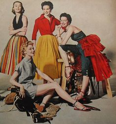 1950s fashion photograph women in skirts, pants and shorts by Christian Montone, via Flickr