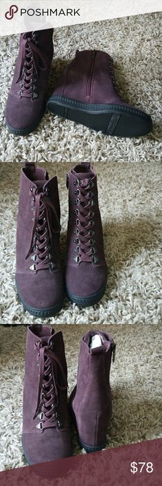NWT FERGIE HIGH TOO WEDGE!! Never worn! Dark plum Fergie Shoes Ankle Boots & Booties