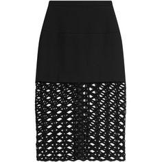 David Koma Wide Knit Mesh Hem Midi-Skirt ($845) ❤ liked on Polyvore featuring skirts, black, midi skirt, calf length skirts, mesh skirt, knit midi skirt and black midi skirt