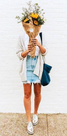 summer outfits Light Cardigan Denim Skirt Metallic Pumps